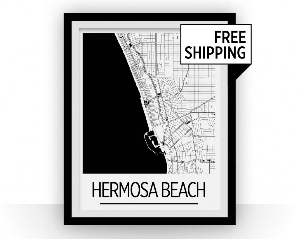 Hermosa Beach Map Poster California Map Print Art Deco   Etsy - Hermosa Beach California Map