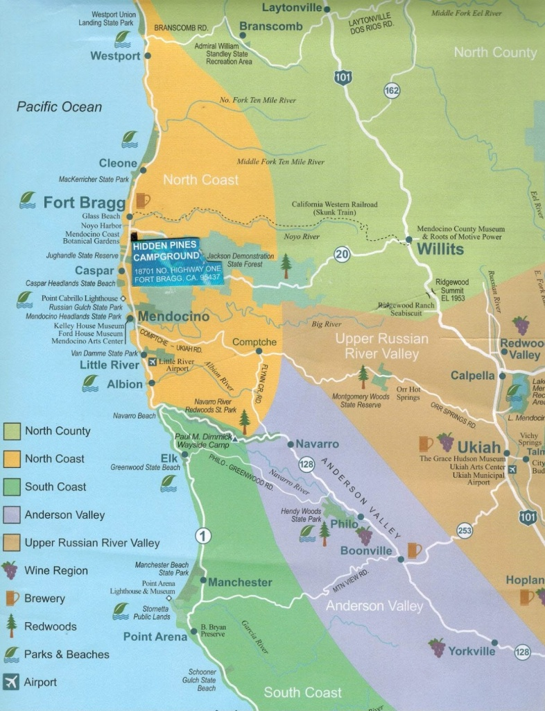 Hidden Pines Rv Campground - Fort Bragg California : Maps Fort Bragg - California Rv Campgrounds Map