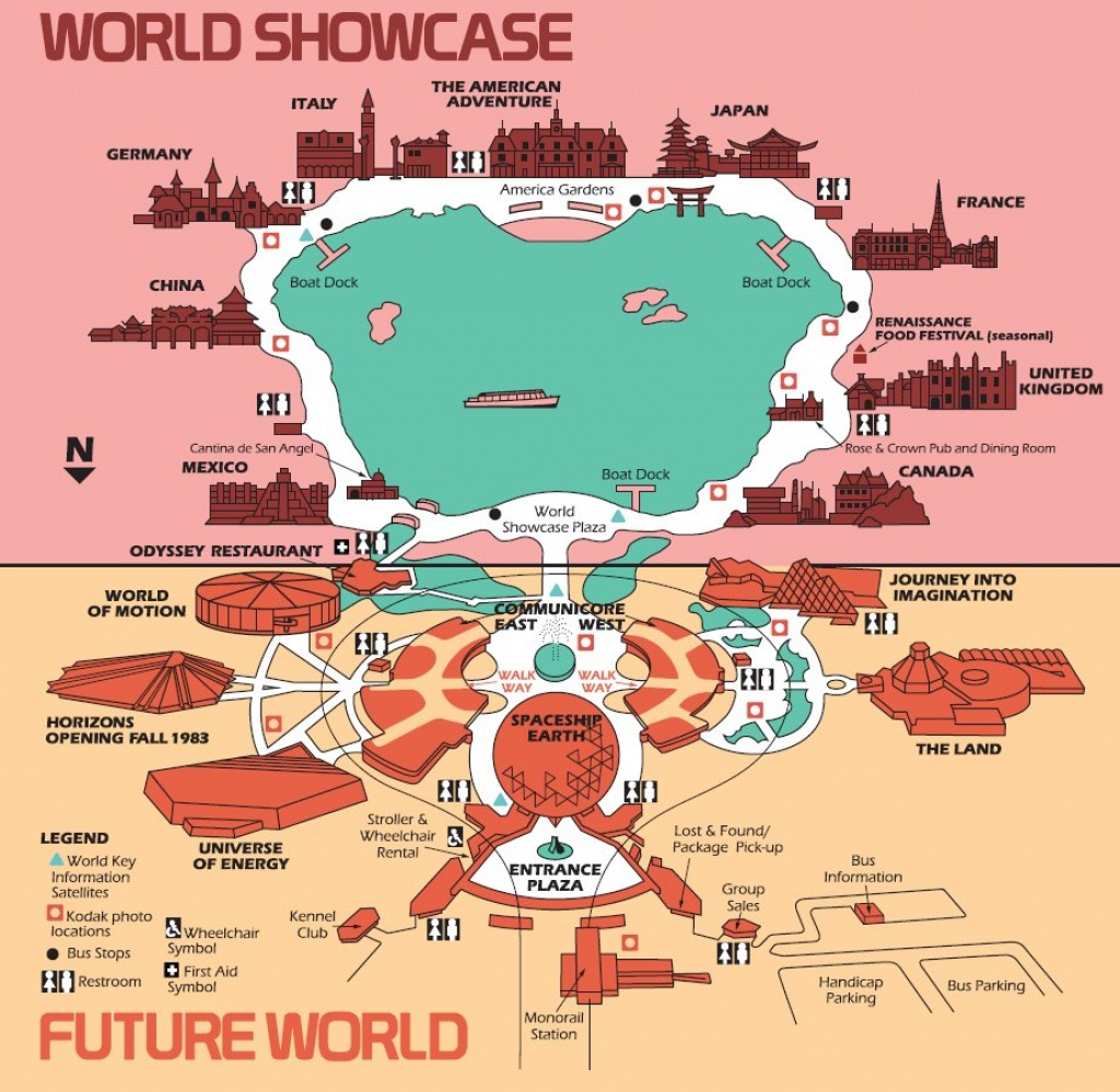 High Resolution 1982 Epcot Center Map - Free For Download/printing - Epcot Park Map Printable