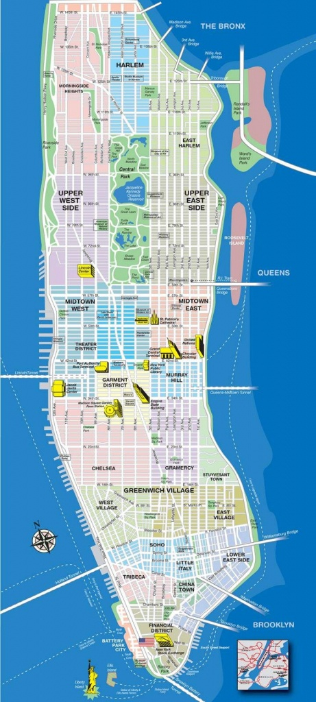 High-Resolution Map Of Manhattan For Print Or Download | Usa Travel - Printable Map Manhattan Pdf