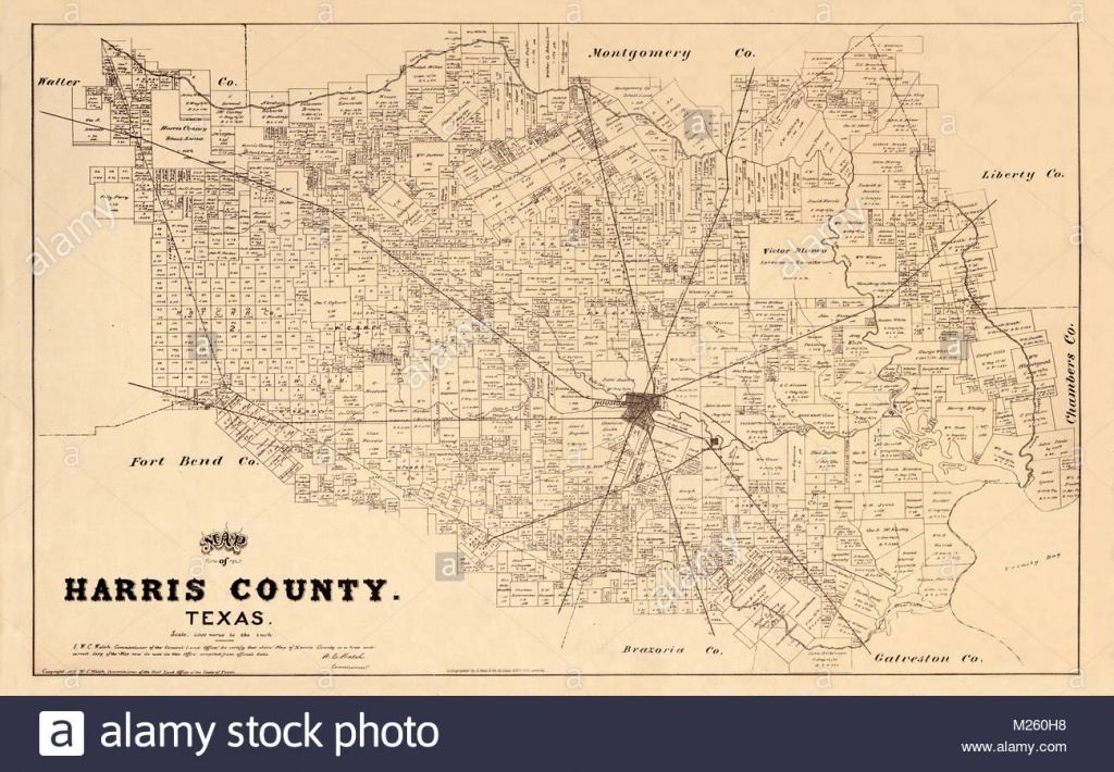Historical Map Of Houston And Harris County Texas Showing Original - Texas Property Map