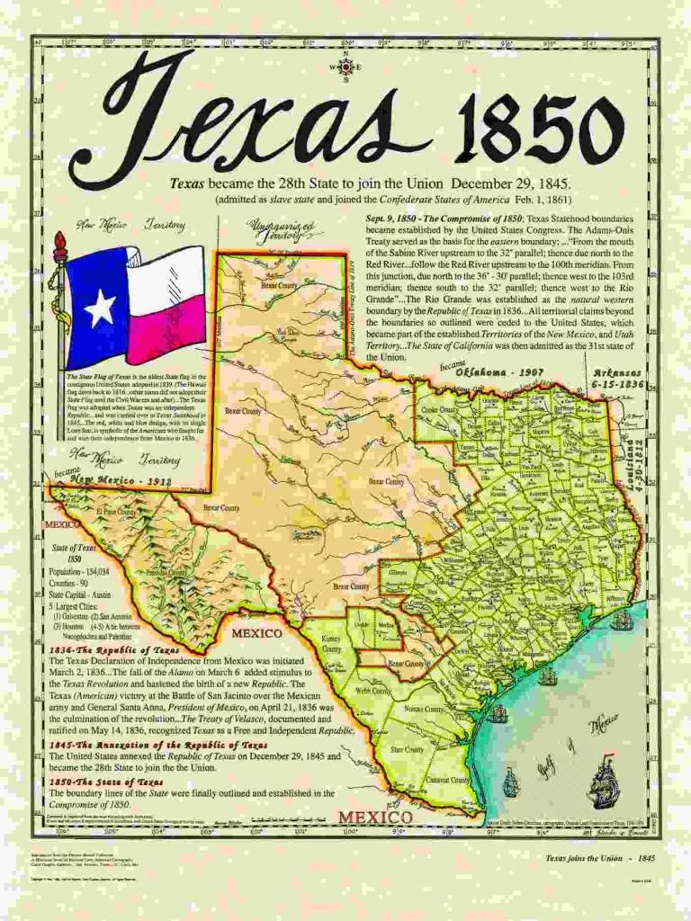 Historical Texas Maps, Texana Series - Republic Of Texas Map 1845