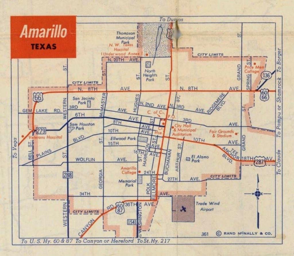 History Of Amarillo, Texas: Map Of Amarillo: C. 1956 - 1960 - Printable Map Of Amarillo Tx