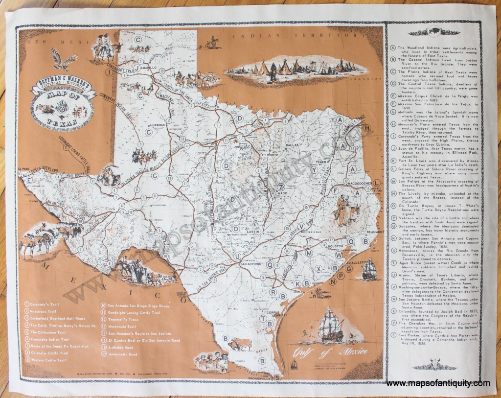 Hoffman & Walker's Pictorial, Historical Map Of Texas - Antique Maps - Antique Texas Map Reproductions