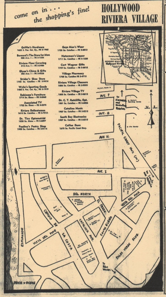 Hollywood Riviera Village 1950S Map, Redondo Beach California - Redondo Beach California Map