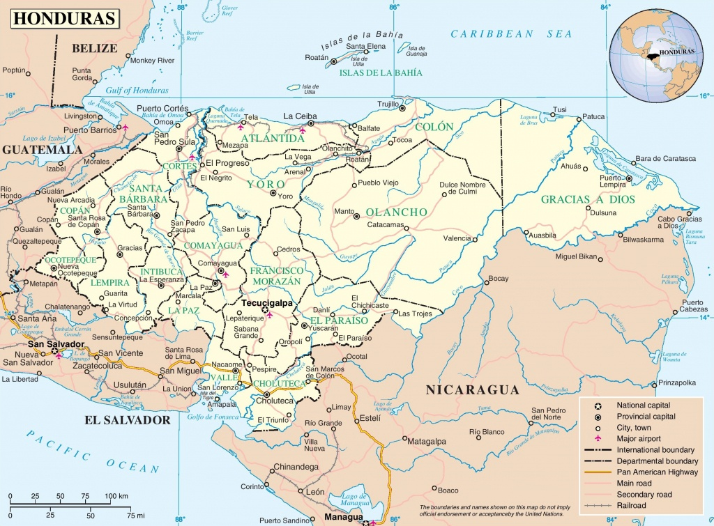 Honduras Political Map - Printable Map Of Honduras