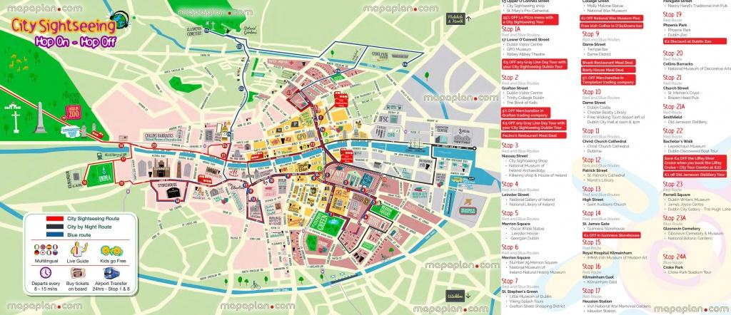 Hop Hop Off Bus Dublin City Sightseeing Tour Double Decker Open Top - Printable Map Of Dublin