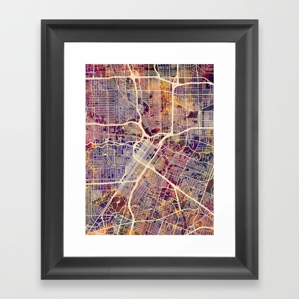 Houston Texas City Street Map Framed Art Printartpause | Society6 - Texas Map Framed Art