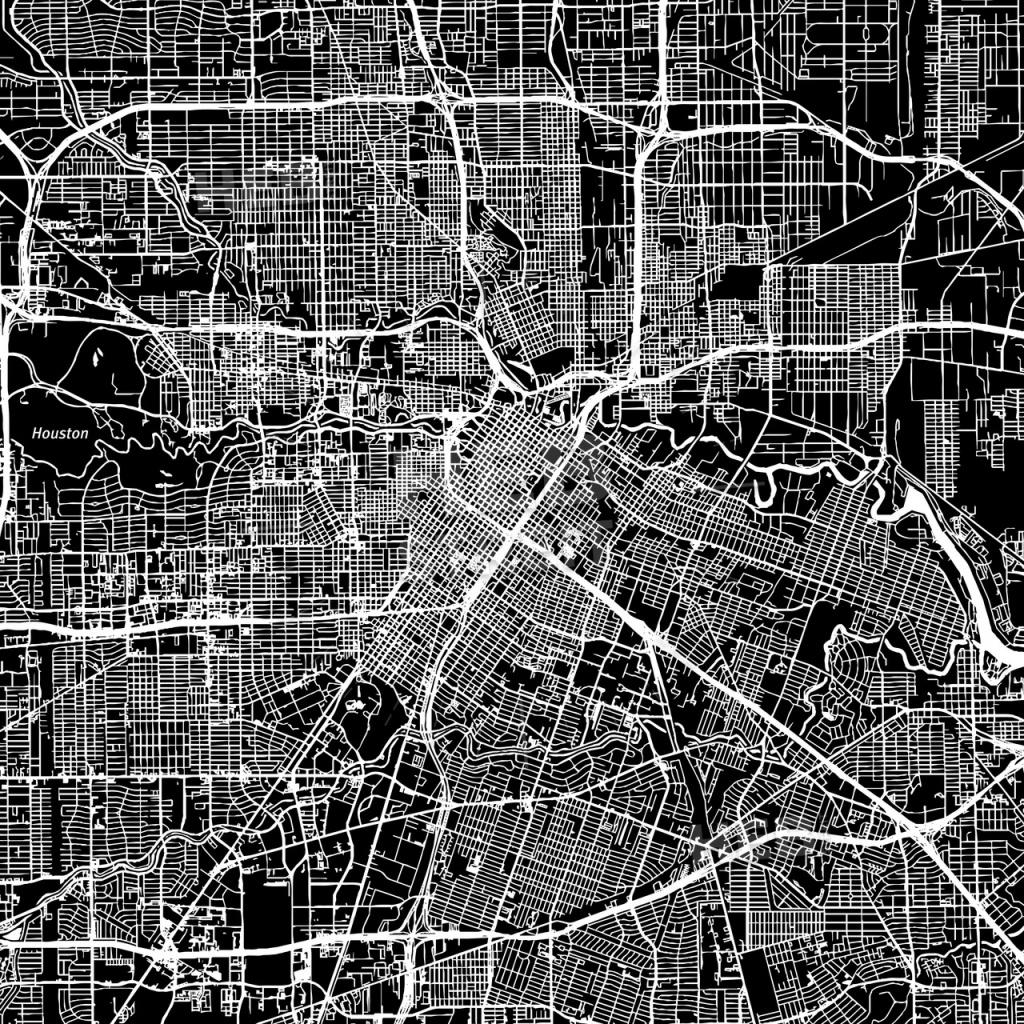 Houston, Texas, Downtown Map, Dark | Hebstreits Sketches - Downtown Houston Map Printable
