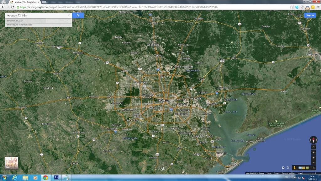 Houston, Texas Map - Google Maps Satellite Texas