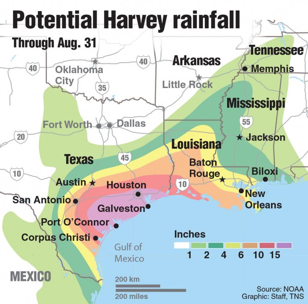 Hurricane Warnings Issued Along Texas Coast As Tropical Storm Harvey - Map Of Texas Coast