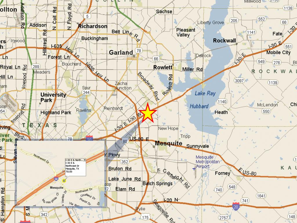I-30 & Northwest Dr, Dallas, Tx   Slj Company, Llc - Mesquite Texas Map