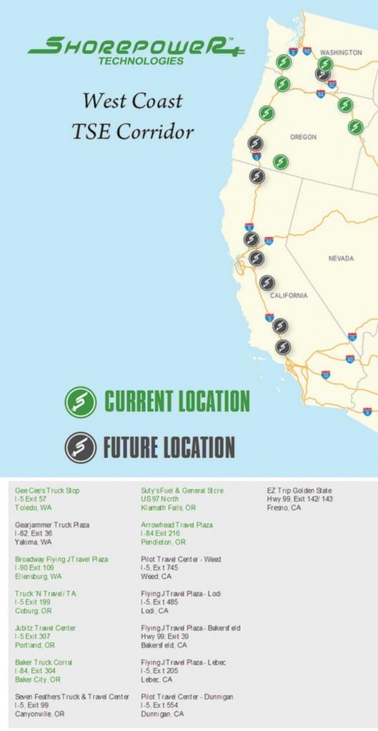I-5 Through Ca, Or And Wa Becoming Shorepower Corridor - Flying J California Map