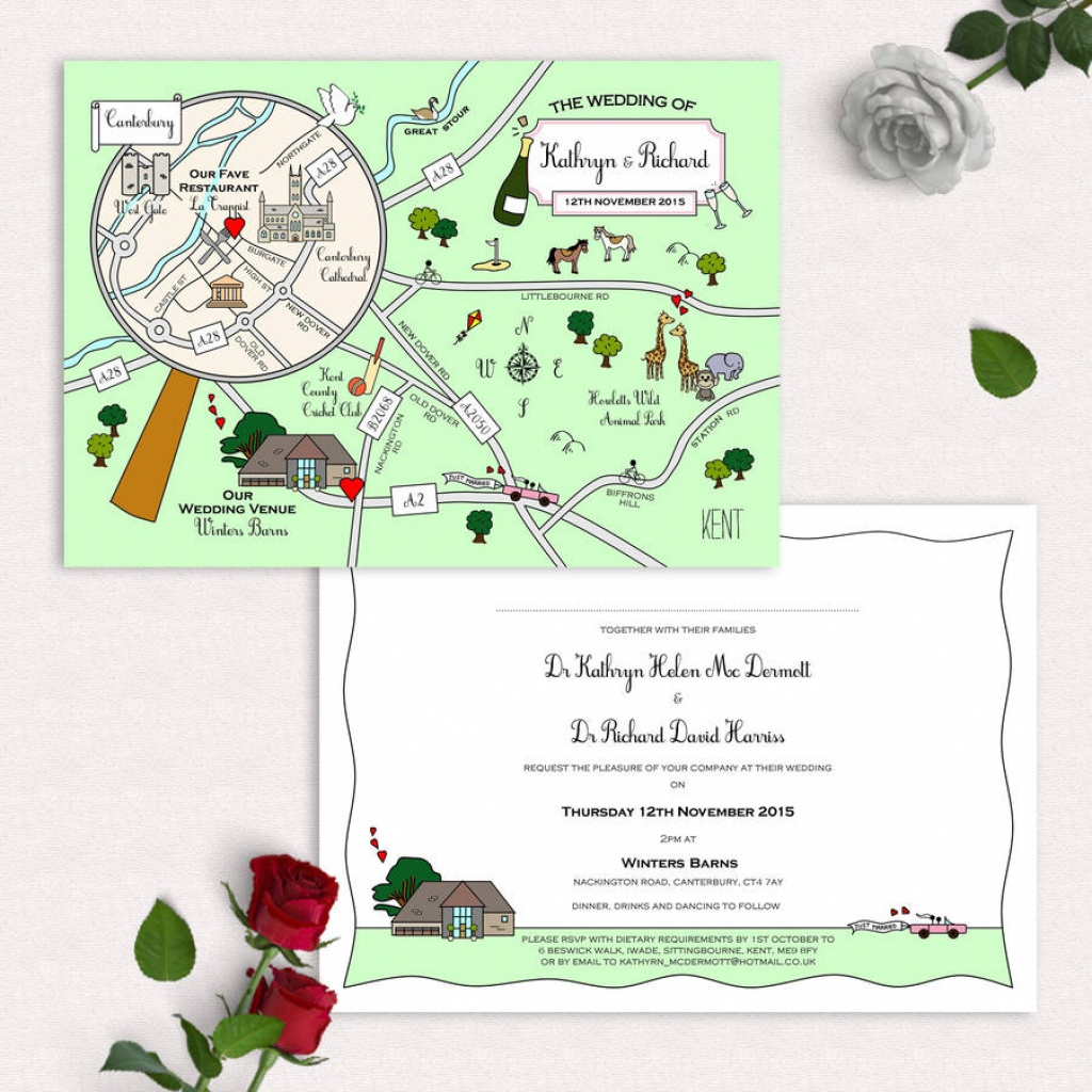 Illustrated Map Party Or Wedding Invitationcute Maps - Maps For Wedding Invitations Free Printable