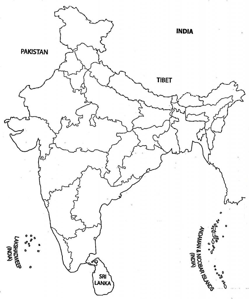 India Map Outline A4 Size | Map Of India With States | India Map - India Outline Map A4 Size Printable