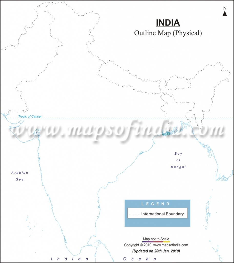 India Physical Map In A4 Size - Physical Map Of India Blank Printable