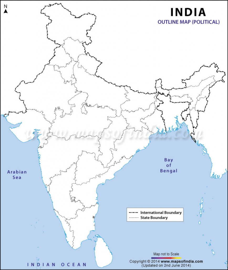 India Political Map In A4 Size - India Political Map Outline Printable