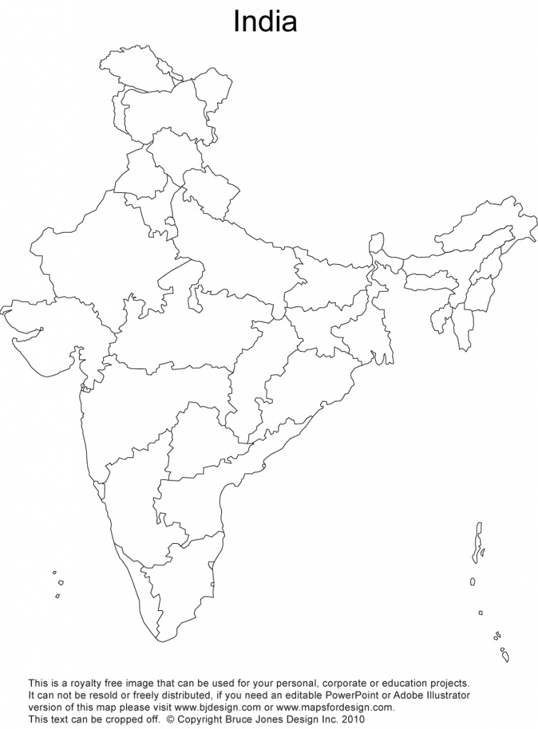India Printable, Blank Maps, Outline Maps • Royalty Free - Printable Map Of India