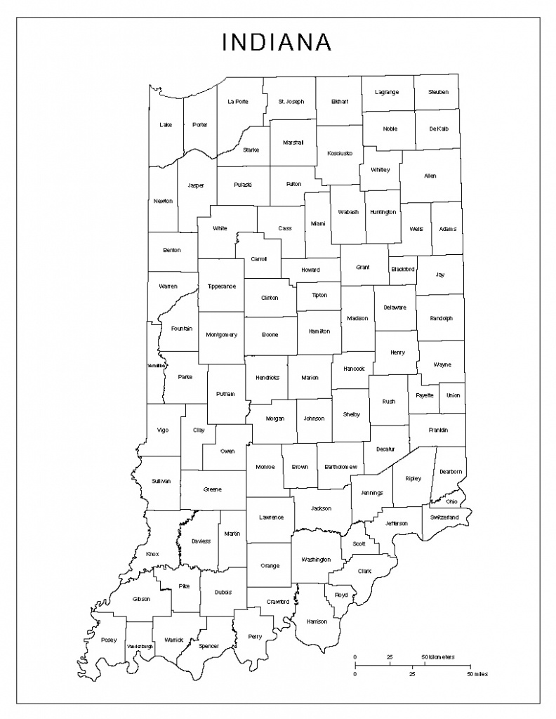Indiana Labeled Map - Indiana County Map Printable