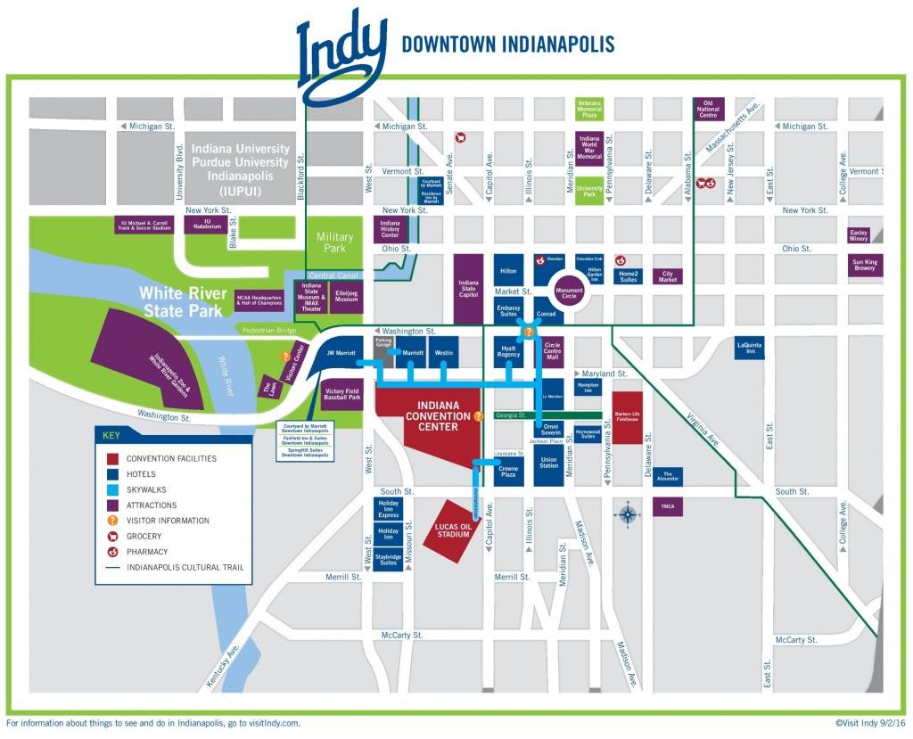 Indianapolis Downtown Map - Printable Map Of Indianapolis