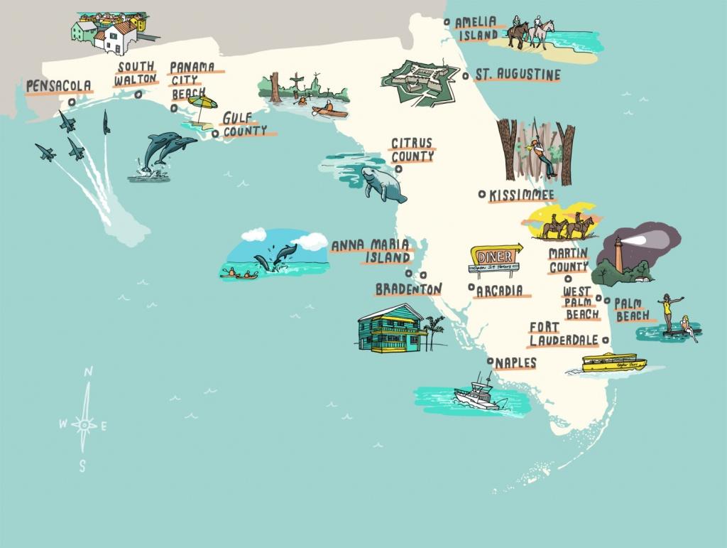 Interactive Florida Map - Laura Barnard / Map Illustrator - Where Is Pensacola Florida On A Map