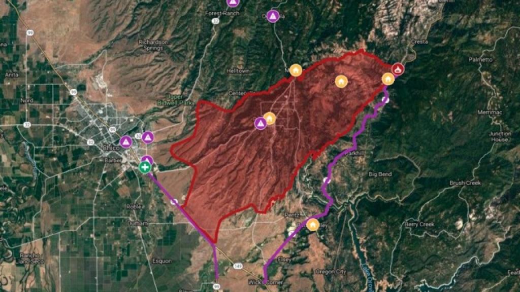 Interactive Map: Camp Fire Burns Through Northern California - Interactive Map Of California Fires