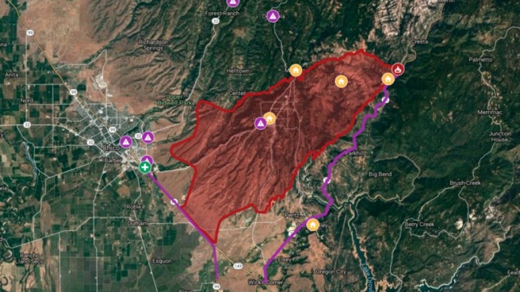 Interactive Map: Camp Fire Burns Through Northern California - Map Of Northern California Campgrounds