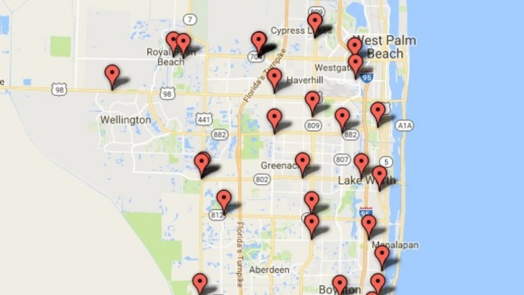 Interactive Map: Gas Pump Skimmers Found In Palm Beach County - Map Of Palm Beach County Florida