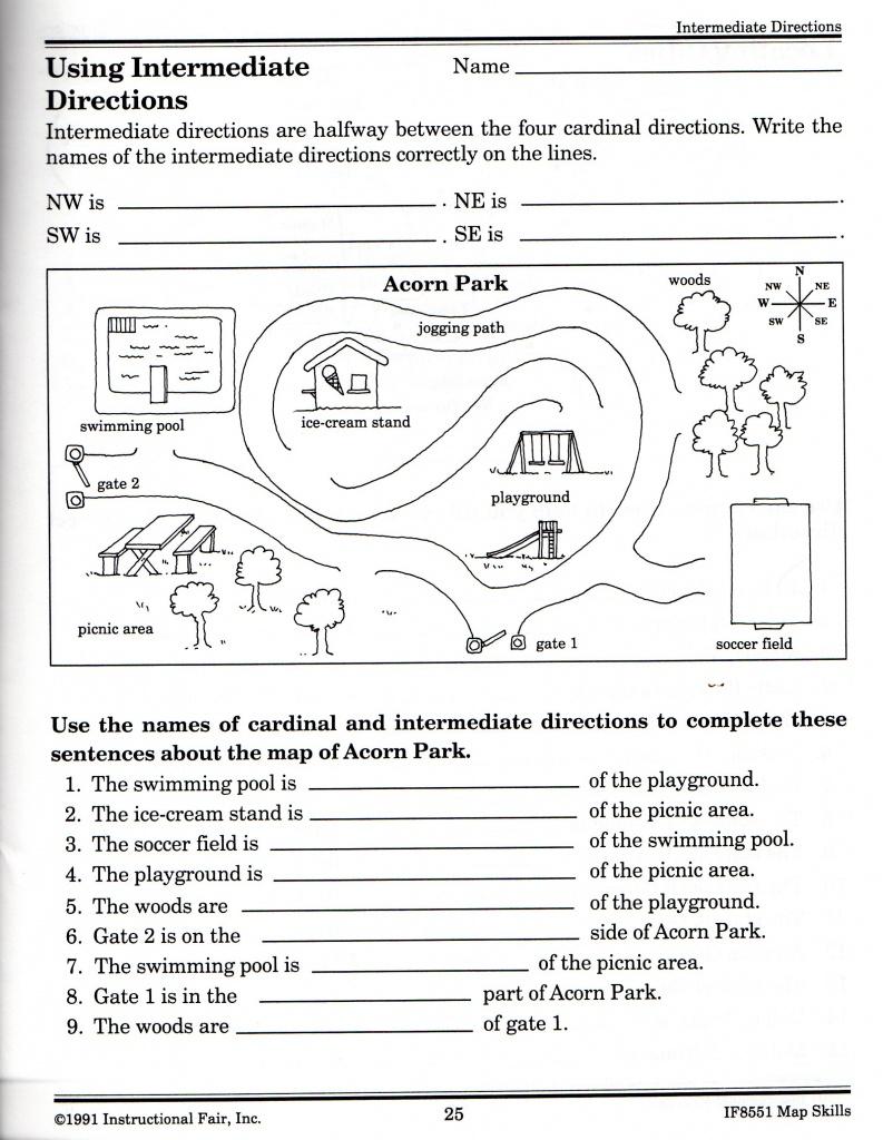 Intermediate Directions Worksheet | Graphic Design & Logos | Map - Free Printable Direction Maps