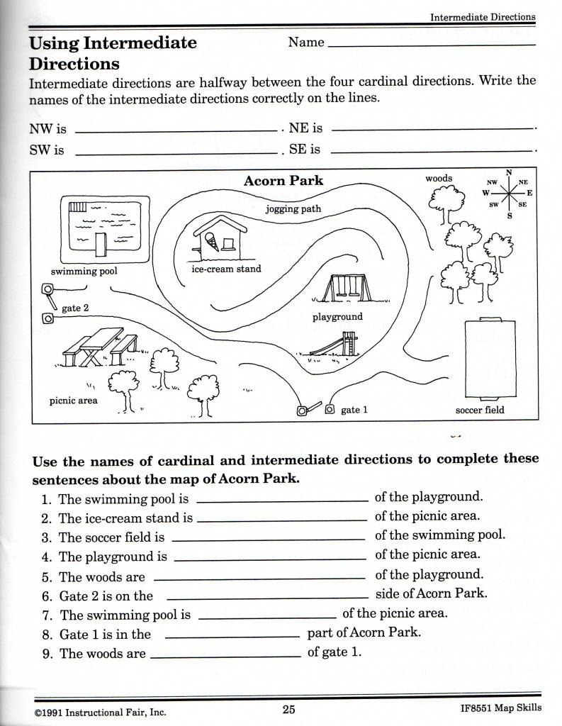 Intermediate Directions Worksheet | Graphic Design & Logos | Map - Free Printable Map Skills Worksheets