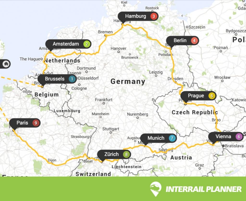 Interrail Planner - Printable Map Route Planner