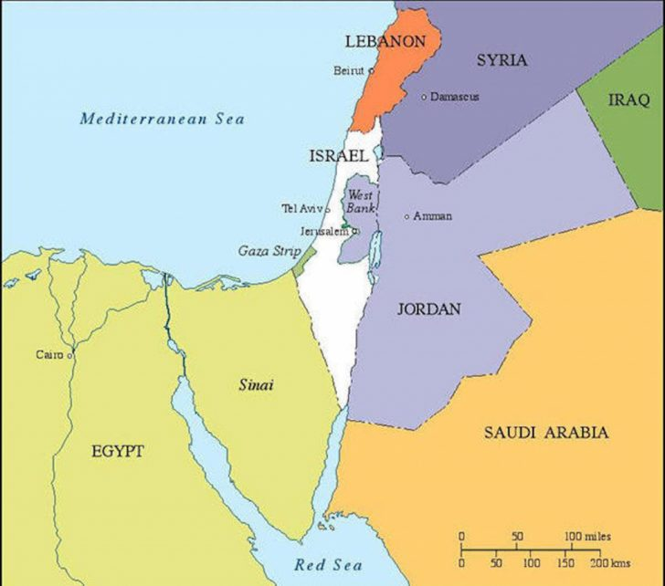 Printable Map Of Israel Today