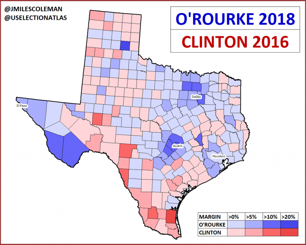 """J. Miles Coleman On Twitter: """"here's A Comparison Between Hillary - Map Beto For Texas"""