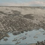 Jacksonville 1876 Birds Eye View W/ Blue Water Wall Map   Old Maps Of Jacksonville Florida