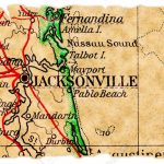 Jacksonville, Florida On An Old Torn Map From 1949, Isolated   Old Maps Of Jacksonville Florida