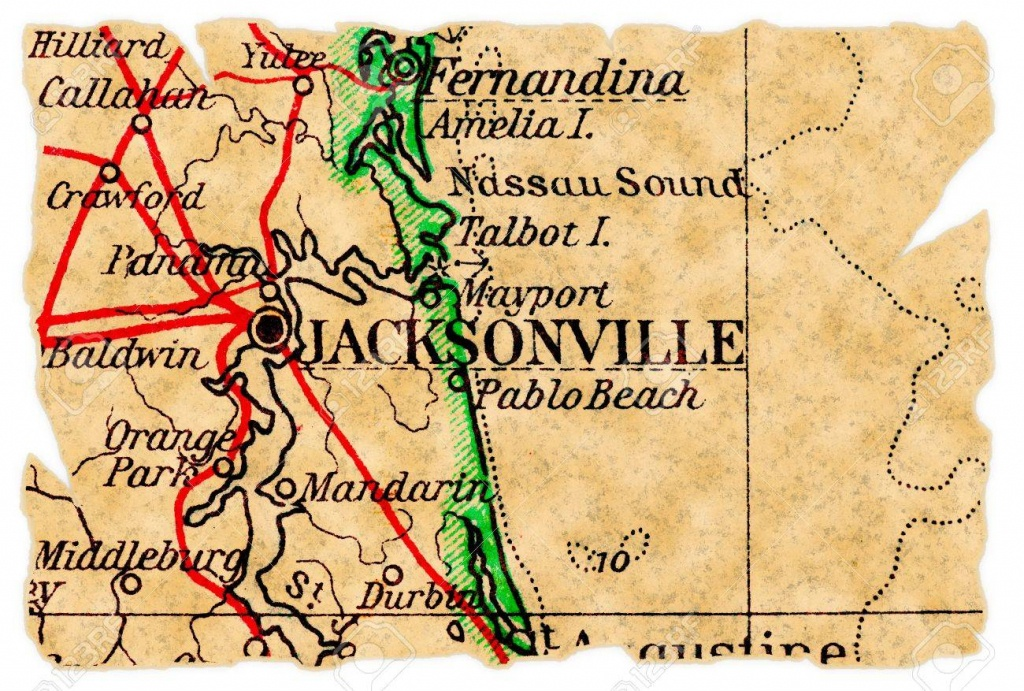 Jacksonville, Florida On An Old Torn Map From 1949, Isolated - Old Maps Of Jacksonville Florida