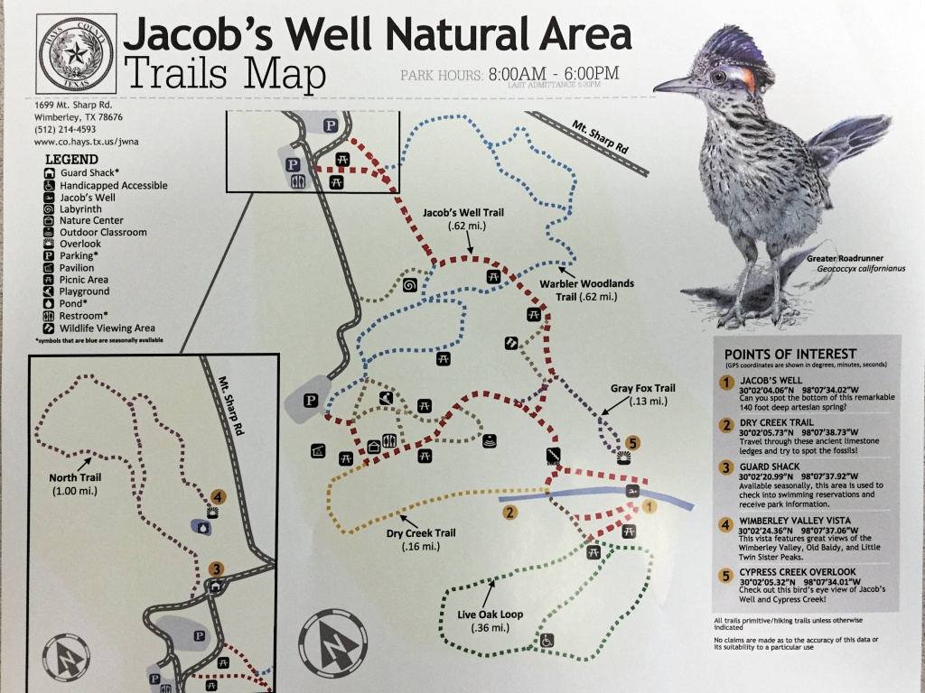 Jacobs Well Natural Area In Wimberley, Texas - A Visitwimberley - Texas Hiking Trails Map