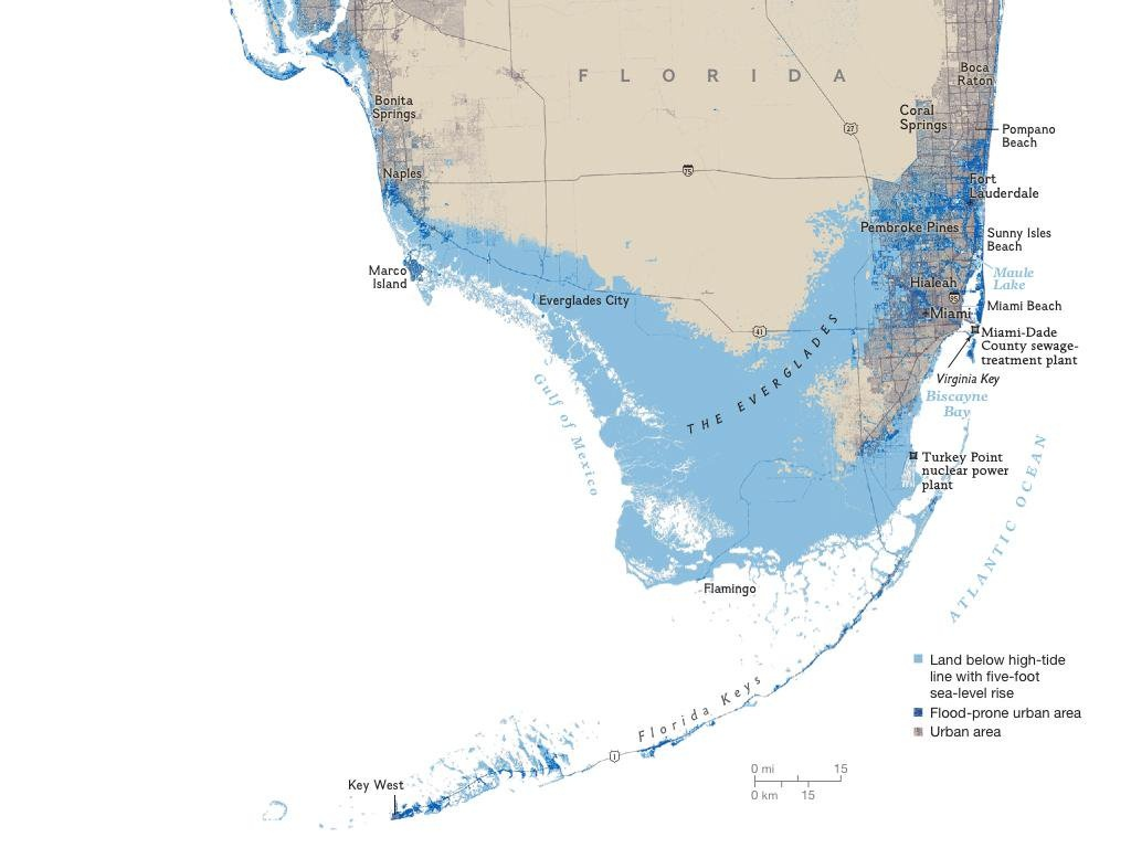 """John Morales On Twitter: """"off February's Issue Of @natgeomag, The - South Florida Sea Level Rise Map"""