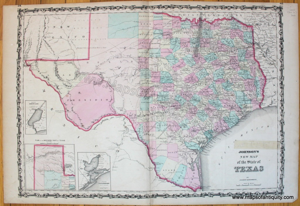 Johnson's New Map Of The State Of Texas - Antique Maps And Charts - Antique Texas Map Reproductions
