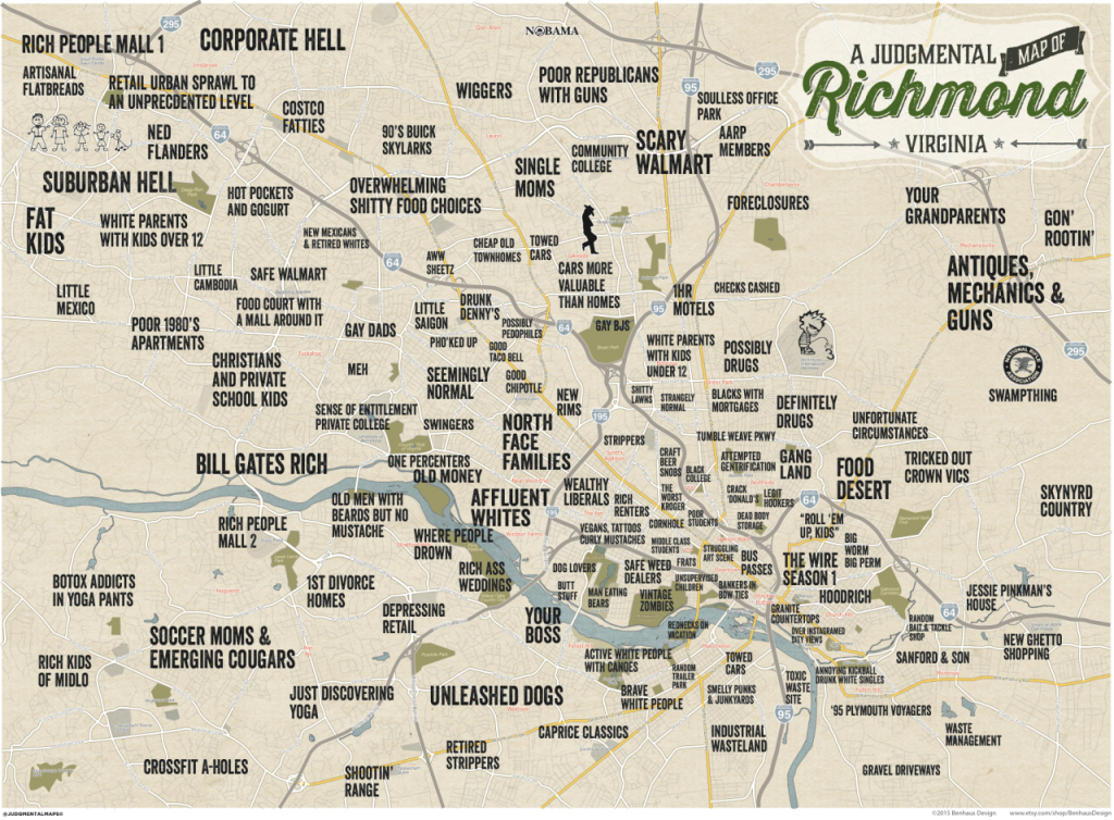 Judgmental Maps — Richmond, Vabenhaus Design Copr. 2015 Benhaus - Printable Map Of Richmond Va