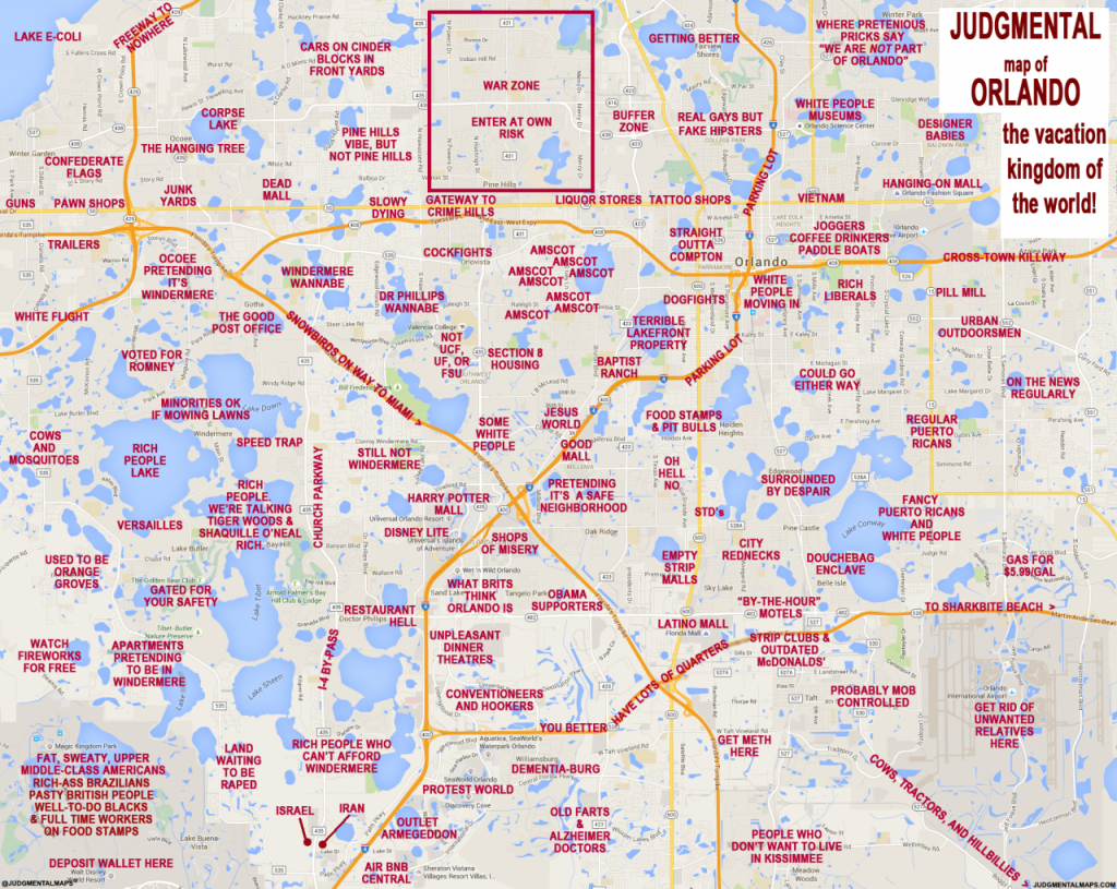 """Judgmental Maps"""" Takes On Orlando With Hilariously Offensive Results - Detailed Map Of Orlando Florida"""