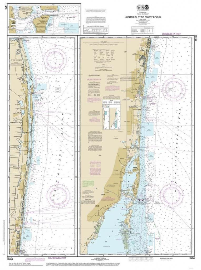 Jupiter Inlet To Fowey Rocks 2014 -Old Nautical Map Florida 80000 Ac Chart  11466-1248 -Reprint - Miami - Fort Lauderdale - North Palm Beach - Water Depth Map Florida