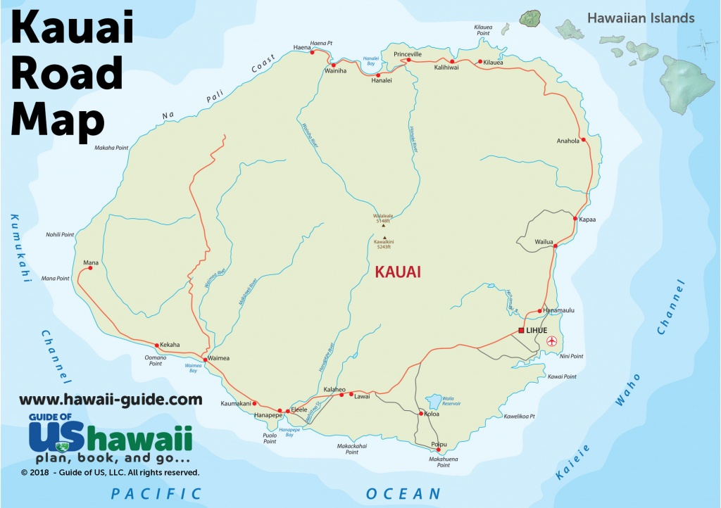 Kauai Maps - Printable Map Of Kauai Hawaii