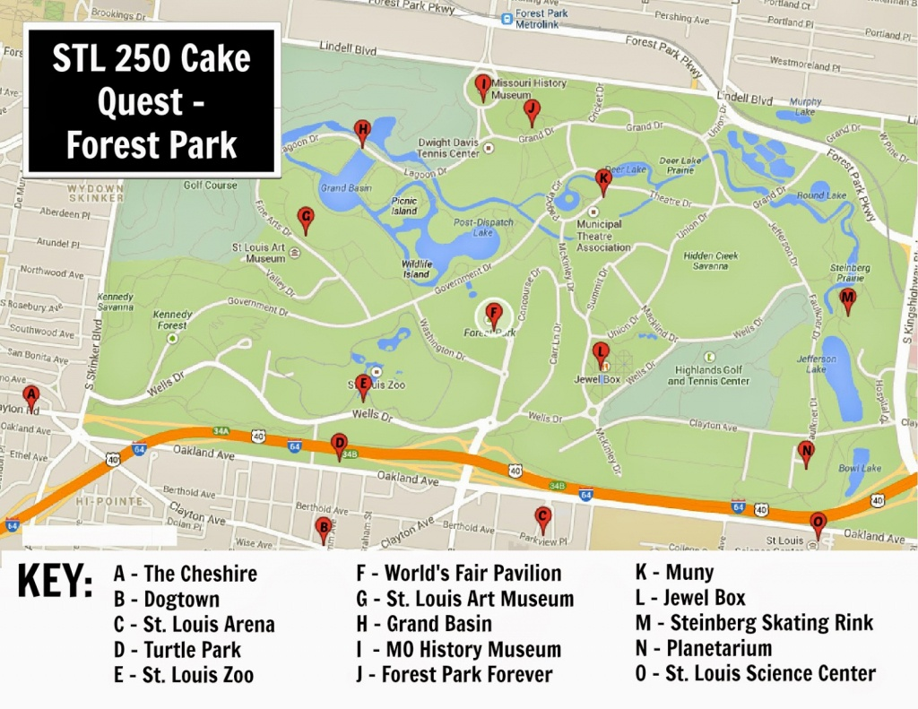 Keeping Up With The Kiddos: Stl 250 Cake Quest - Forest Park (Part 2) - Forest Park St Louis Map Printable
