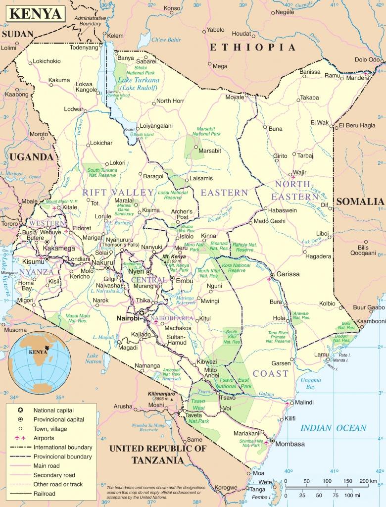 Kenya Political Map - Printable Map Of Kenya