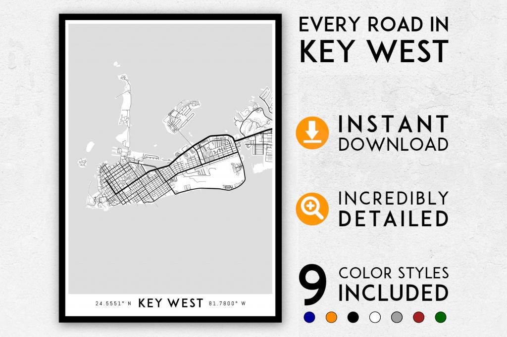 Key West Map Print Key West Print Florida Keys Map Key West   Etsy - Key West Street Map Printable