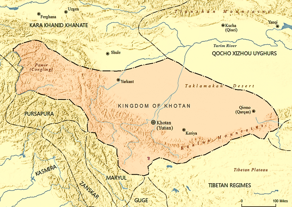 Kingdom Of Khotan - Wikipedia - Silk Road Map Printable