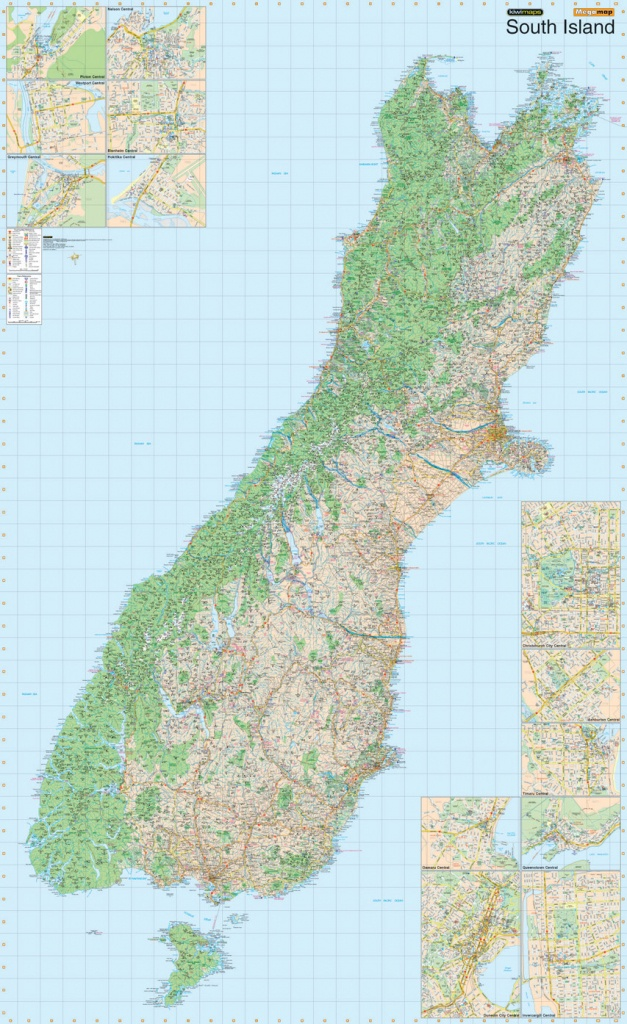 Kiwmaps: New Zealand's Best Selling Maps - New Zealand South Island Map Printable