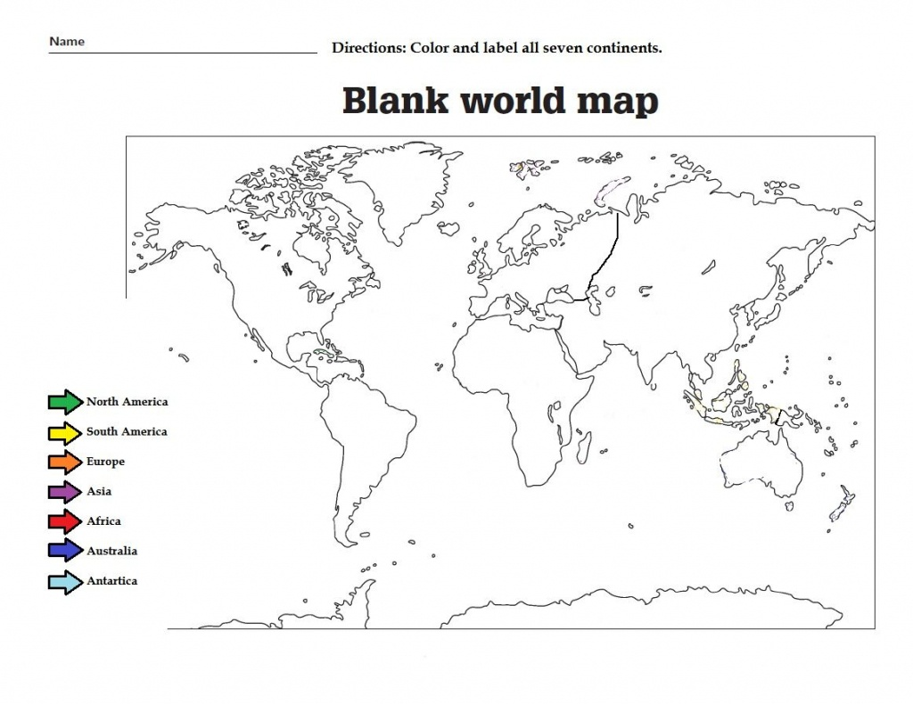 Label The The Continents And Color Them. Great Worksheet For Kids - Free Printable World Map Worksheets