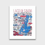 Lago Di Garda Contemporary Art Print | Julia Gash   Printable Map Of Lake Garda
